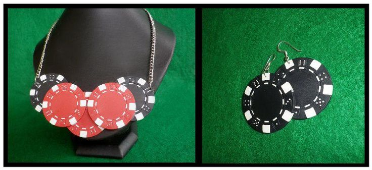 Black & Red Poker Chip Necklace with matching Earrings