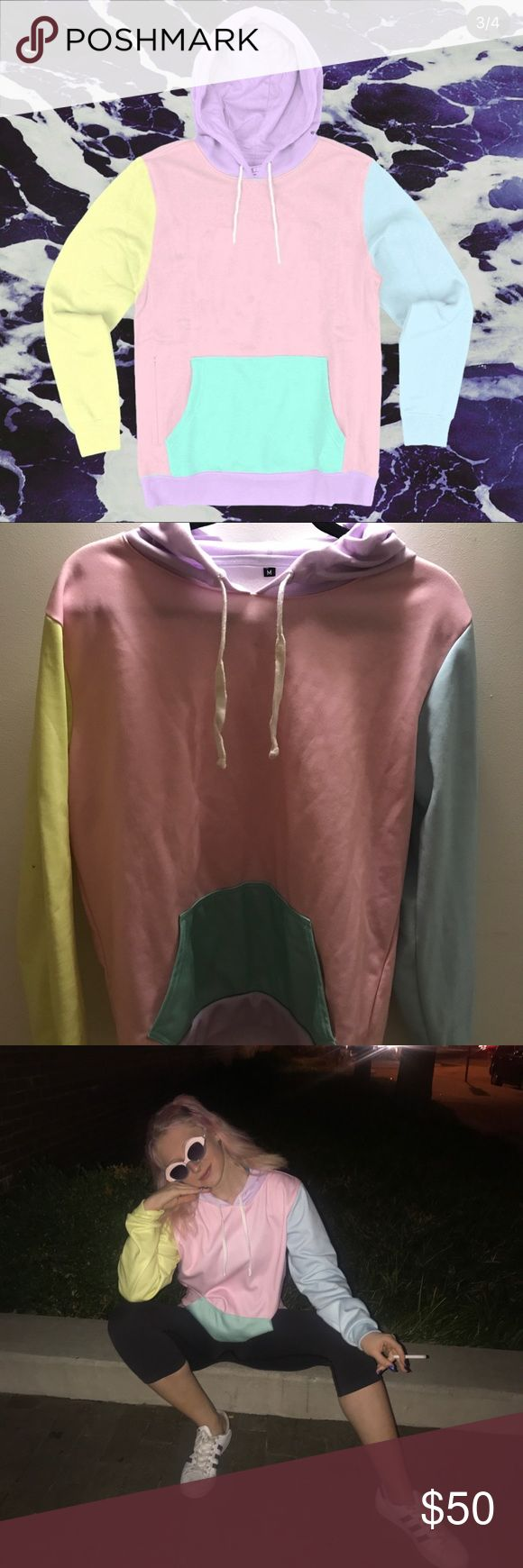 Pastel colorful hoodie Found from Instagram ad, worn twice. So cute and fun Tops Sweatshirts & Hoodies