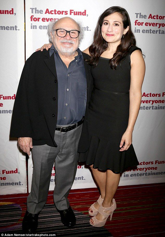 Twins! Danny DeVito and his daughter Lucy arrive on the red carpet on Monday at The Actors Fund gala in New York City
