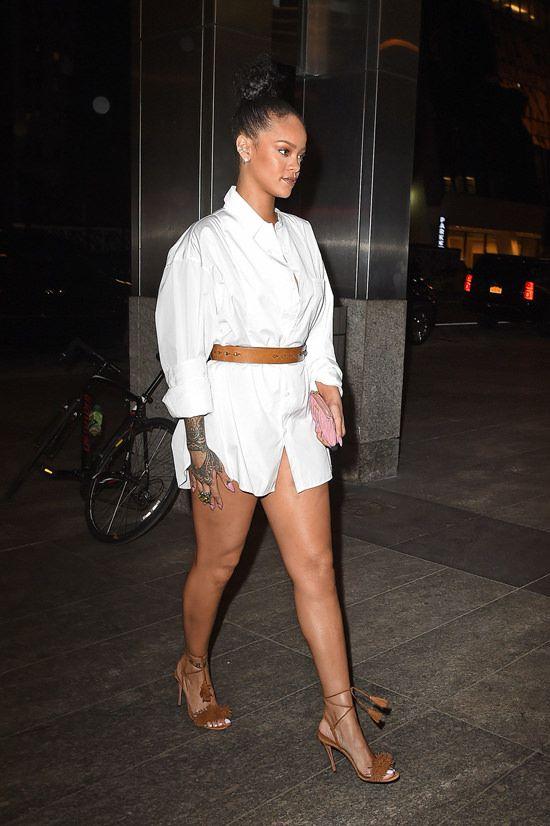 Splurge: Rihanna's New York City Nobu Restaurant Aquazzura Wild Thing Brown Tan Suede Fringe Ankle Wrap Sandals   The Fashion Bomb Blog   Bloglovin'