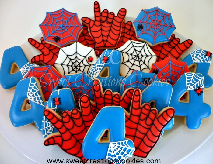 Spider Man Cookies by @kimberlycrowsc from Sweet Creations Cookies. Using a Spiderweb Cookie Cutter, I Love you Hand Cookie Cutter, and Number 4 Cookie Cutter.