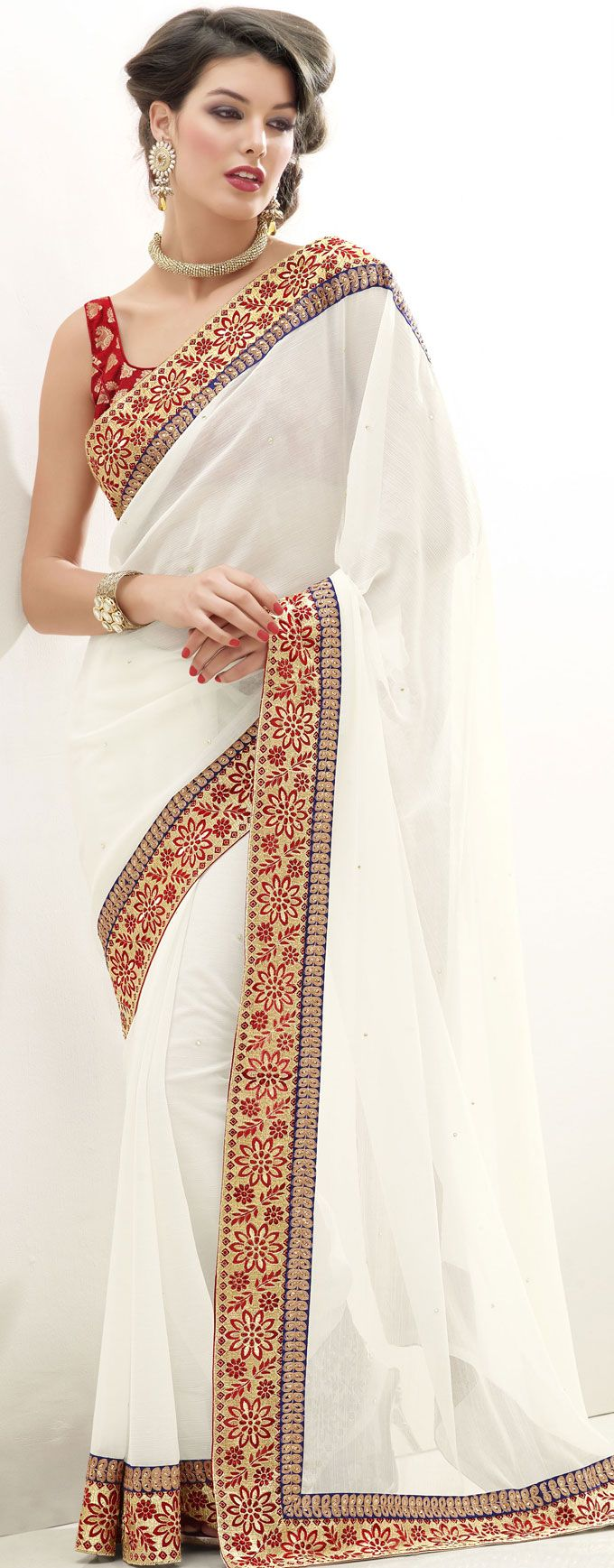 Off #White #Chiffon #Saree Blouse Design | @ $55.25 | Shop It Here: http://www.sareegalaxy.com/pages/itemlarge.aspx?itemcode=SHK6G17