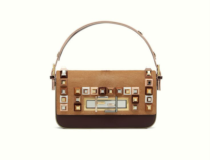 Fendi brown 3Baguette with pyramid-shaped studs