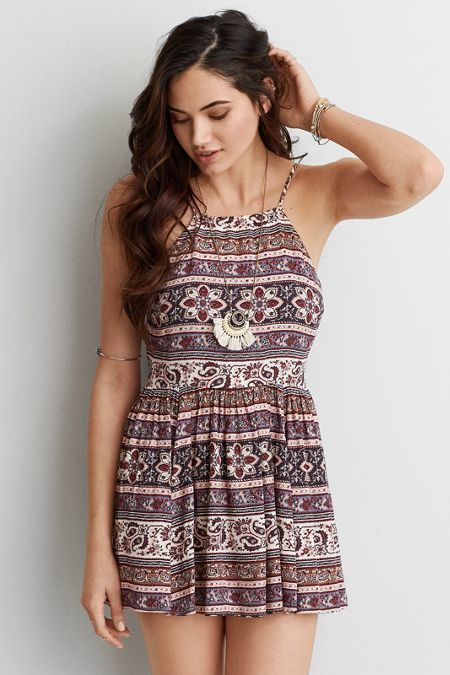 American Eagle Outfitters AEO Hi-Neck Fit & Flare Dress