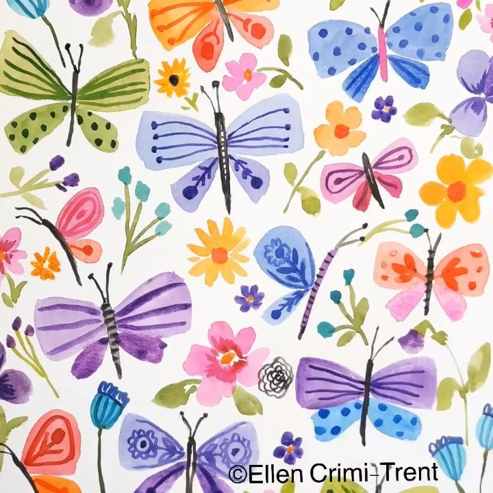 Watercolor Flowers And Butterflies Butterflies Flowers