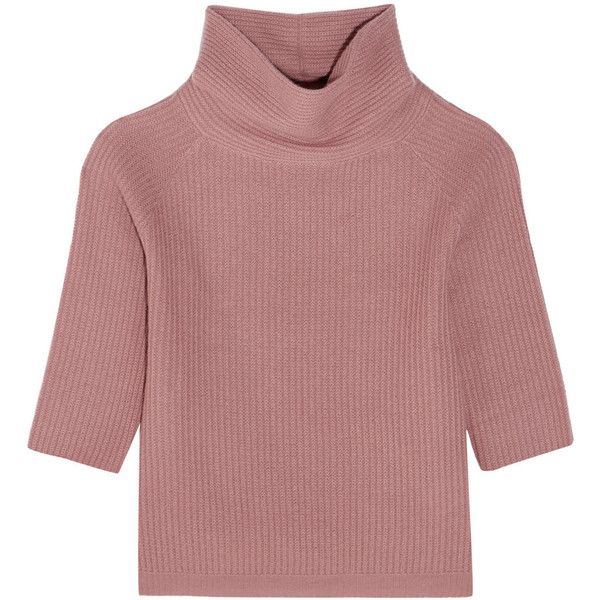 Allude Allude - Ribbed Cashmere Turtleneck Sweater - Antique rose (£229) ❤ liked on Polyvore featuring tops, sweaters, antique rose, turtle neck sweater, polo neck sweater, ribbed turtleneck, cashmere sweater and turtle neck top