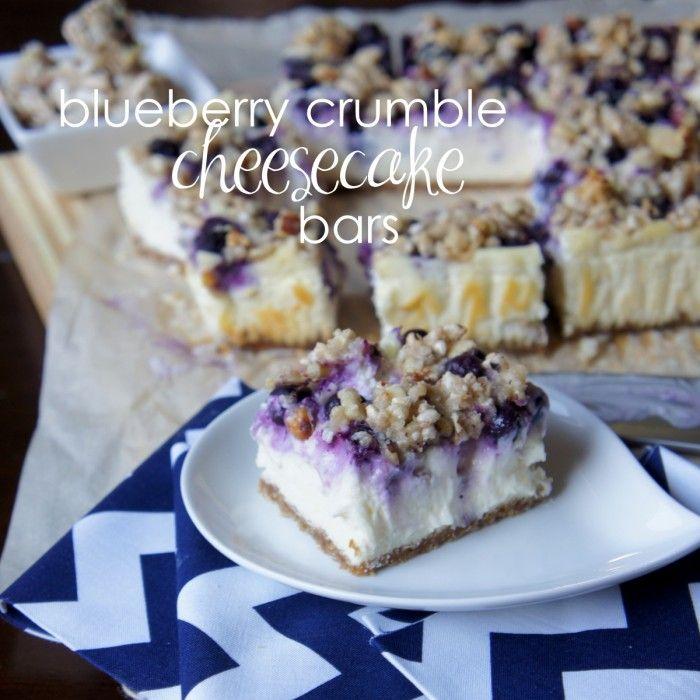 Blueberry Crumble Cheesecake Bars - I Wash You Dry