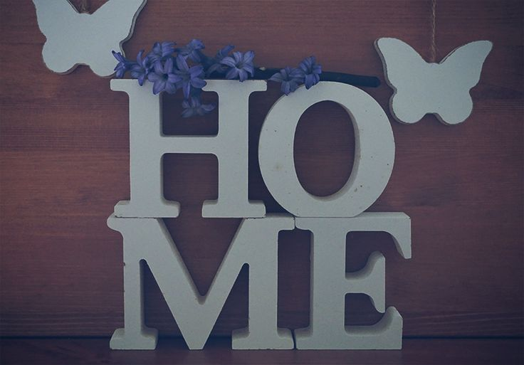 Conceptual free stock photo Wooden letters forming word HOME written, flowers and butterflies on the wooden background. No attribute require.