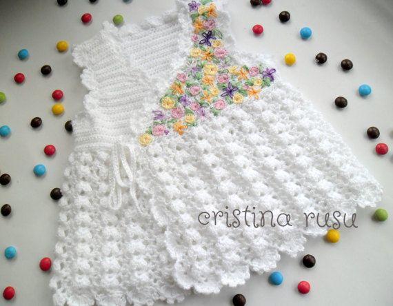 White baby  crochet dress with handmade by CrisColourCrochet