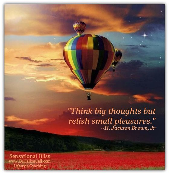 Think big thoughts but relish small pleasures