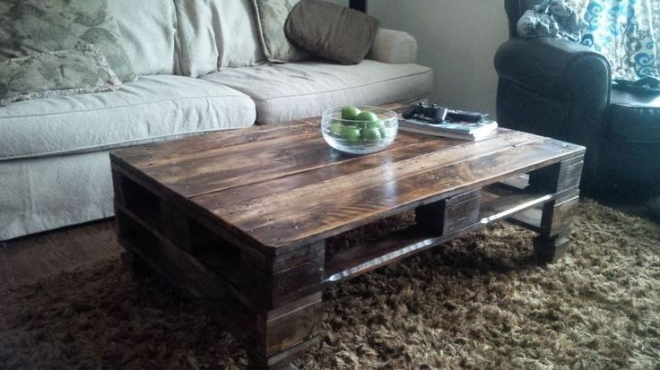 rustic skid coffee table. Who knew shipping pallets could look so chic with a little elbow grease?