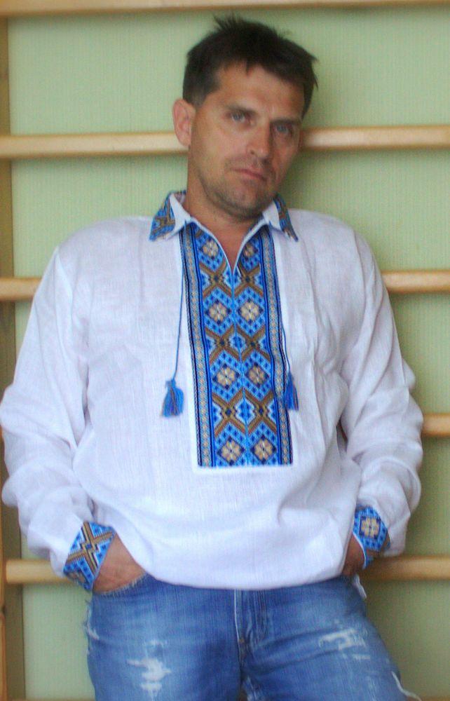 new Ukrainian hand embroidered vyshyvanka mens white blue shirt Wedding wear XL