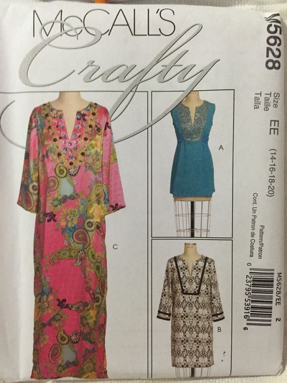 Caftan tunic dress McCalls M5628 size misses 14 16 18 20 sewing pattern uncut