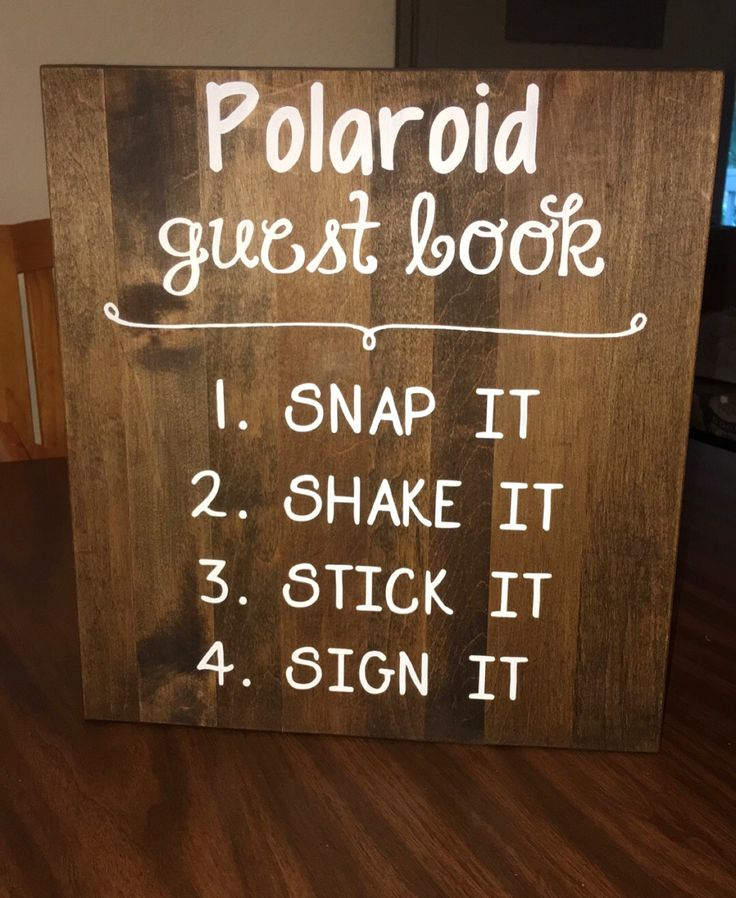 Wooden Polaroid guest book sign