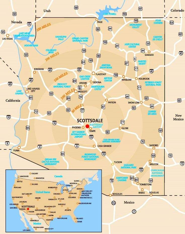 scottsdale area road map usa citiesroad maps
