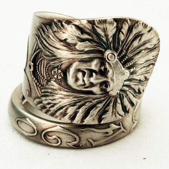 Chicago Souvenir Spoon, Indian Chief, Sterling Silver Spoon Ring