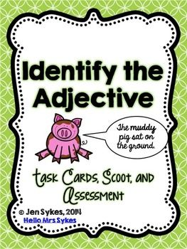 Forever Freebie! Use this packet to save you time as you differentiate instruction!  The 24 Identify the Adjective Task cards are great to have on hand as an extension activity for early finishers, a remediation activity that can be led by a volunteer or paraprofessional, as a review prior to standardized testing, or to play Scoot.