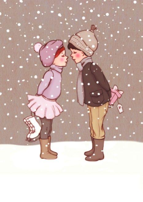 Belle & Boo `Kerstkaart Winter Kiss`