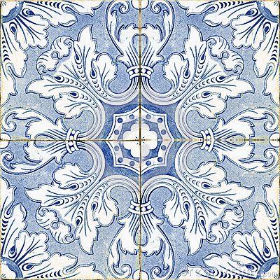Vintage portuguese blue tiles by Arbaes, via Dreamstime