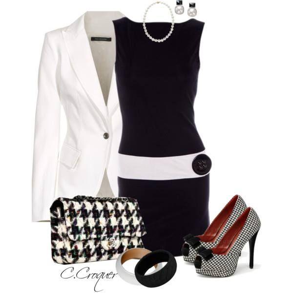 Black & White w Houndstooth purse!!