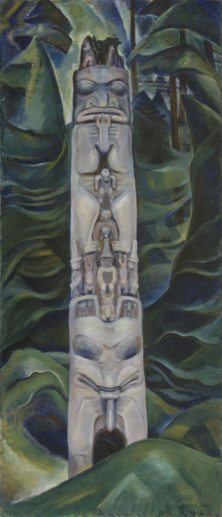 Emily Carr, Totem and Forest, 1931, oil on canvas, Collection of the Vancouver Art Gallery, Emily Carr Trust. Photo: Trevor Mills, Vancouver Art Gallery.