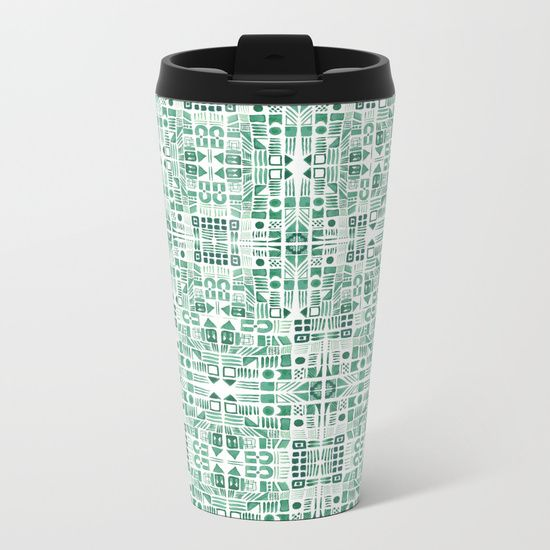 Emerald art deco doodle Metal Travel Mug