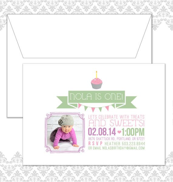 Cupcake FIrst Birthday Invitation by Spilling Beans