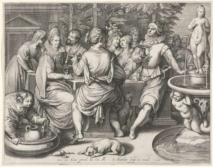 Jacob Matham | De verloren zoon zijn geld verkwistend, Jacob Matham, 1601 - 1606 | Een drinkend gezelschap aan tafel. Een man op de rug gezien bespeelt een luit. Rechts een fontein. Scène uit het bijbelse verhaal van de verloren zoon, waarin de jongeman zijn geld verbrast aan lichtekooien.