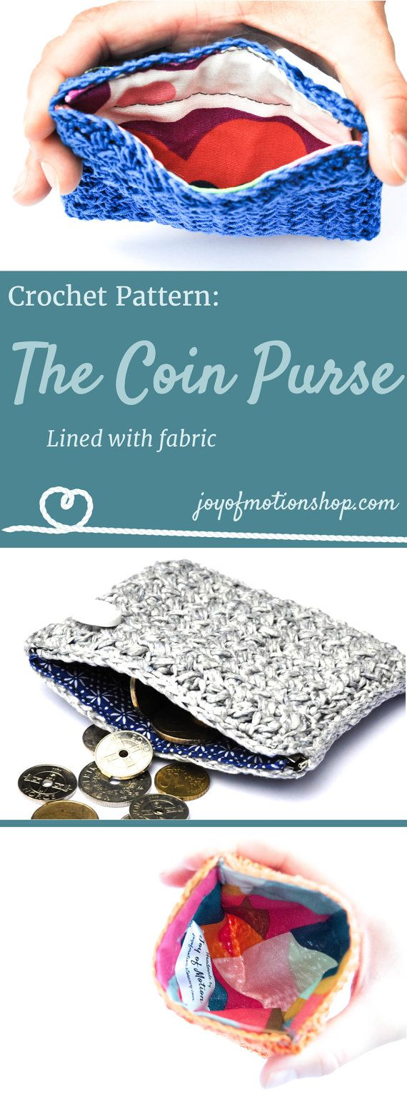 The Coin Purse - crochet pattern. Crochet pattern for a lovely purse. Skill level intermediate. You will need yarn, thread, fabric, a crochet hook. Perfect unique Christmas gift for a friend. Coin purse pattern | coin purse lined with fabric | credit card purse | cute purse pattern | pouch crochet pattern. Click to purchase or repin to save it forever.