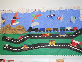 """""""On the Road and in the Air"""" bulletin board...could easily be a library activity wall.   Add one vehicle for every reading club milestone met? One vehicle for every reading club participant?"""