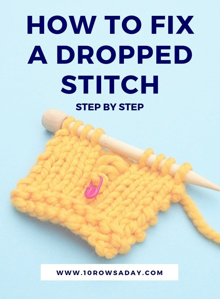 How To Fix A Dropped Stitch Without A Crochet Hook Knitting Tutorial Knitting For Beginners Crochet Hooks