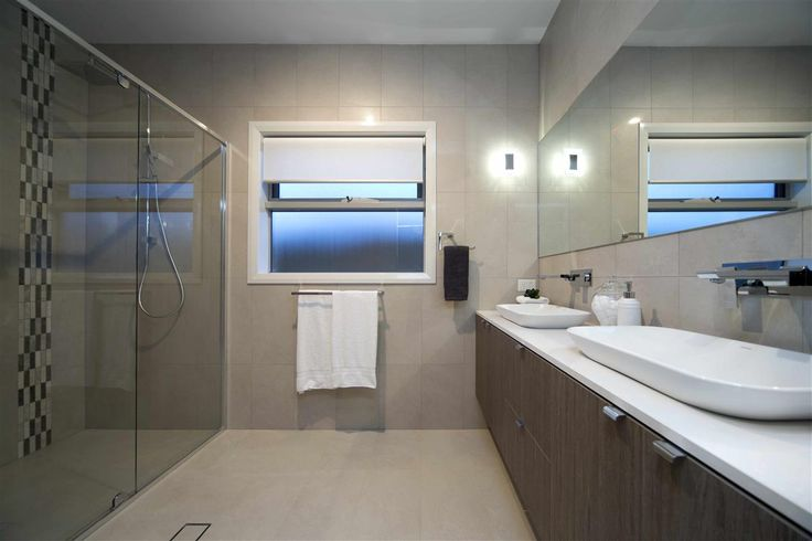 Large Modern Bathroom The Bridgewater 256 Display Home Canberra Quality Fittings Glass Shower Twin Basin G J