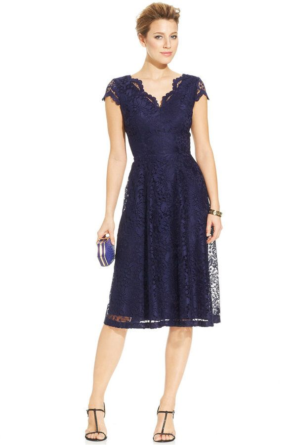 London Times Cap-Sleeve Scalloped Lace Dress - navy ...