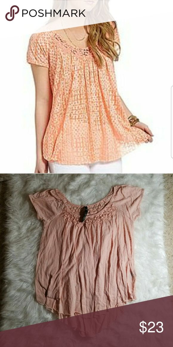 Jessica Simpson Luanne Top Light pink  sheer Jessica Simpson top with lace around neckline and flowy fit. Size Medium. Gently used.  Tags: Follow Game Share Game Smoke Free Jessica Simpson Tops