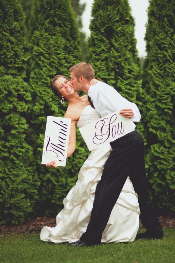 Say thank you in a personal way!  Don't miss these 15 irresistible wedding photo ideas!