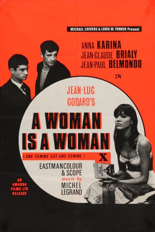 British poster for 'Une femme est une femme' directed by Jean-Luc Godard, 1961.