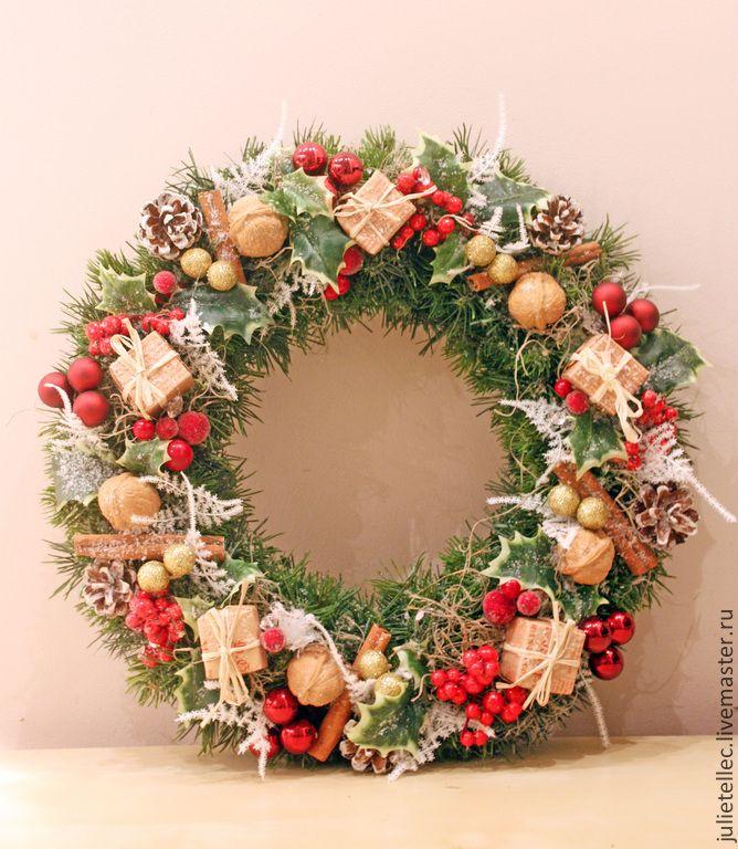 Купить Венок Лондон - ярко-красный, зеленый, британский, лондон, рождественский венок, украшение двери