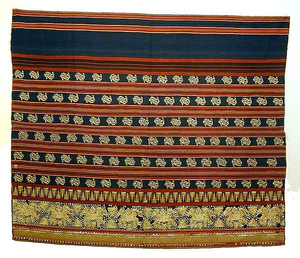 Tapis / Ceremonial Garment  Lampong, South Sumatra   Early 20th indonesia.html   Metallic embroidery, sequins, cotton.