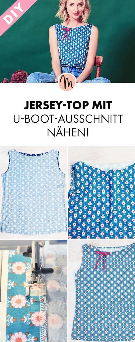 Jersey-Top mit U-Boot-Ausschnitt nähen - Gratis-Anleitung und Schnittmuster via Makerist.de