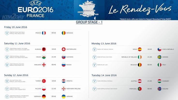UEFA Euro 2016 Schedule in Nepali Standard Time | ktm2day.com