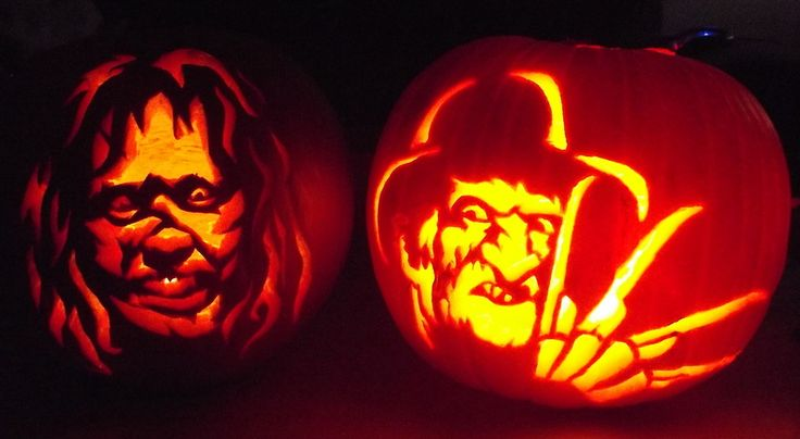 Carved pumpkins.. Regan from The Exorcist and freddy krueger from Nightmare on Elm street x