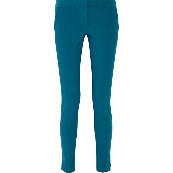 Stella McCartney Stretch-crepe skinny pants ($240) ❤ liked on Polyvore featuring pants, blue, blue stretch pants, stretchy pants, stretch skinny pants, skinny trousers and teal pants