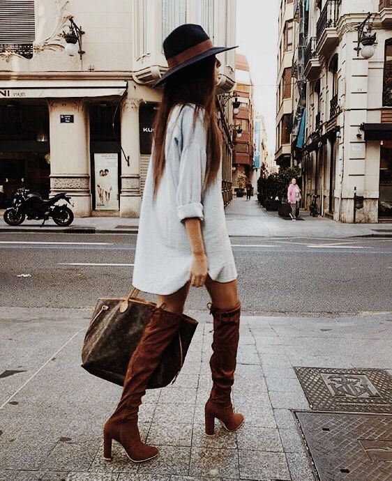 Shirt dress, over the knee tan suede boots, Louis Vuitton neverfull | winter fashion outfit | streetstyle