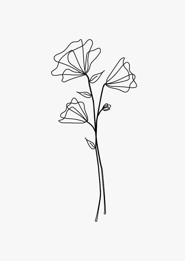 Ein Schones Design Aus Ein Paar Blumen Perfekt Fur Ein Tattoo Line Art Drawings Flower Tattoos Minimalist Tattoo