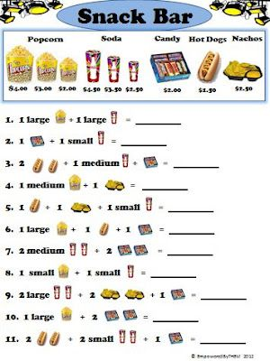 Movie theater and snack bar worksheets!