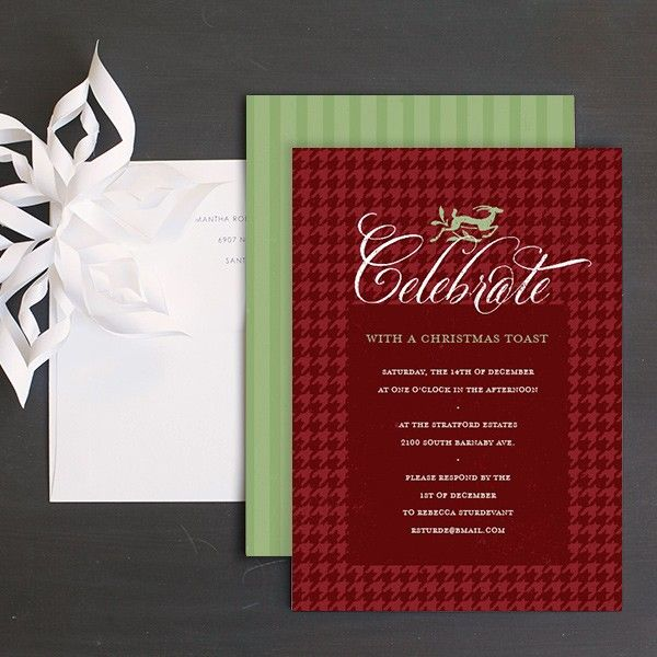 Unique Christmas Party Ideas Part - 44: Elegant Houndstooth Holiday Party Invitations By Elli