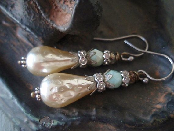 Vintage dimpled pearl earrings 'Jester' sterling silver sparkly rhinestones , rustic mint seafoam green boho bride , bridal