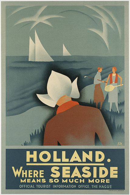 Holland. Where seaside means so much more | Boston Public Library collection of vintage travel posters, dating from the 20s, 30s and 40s