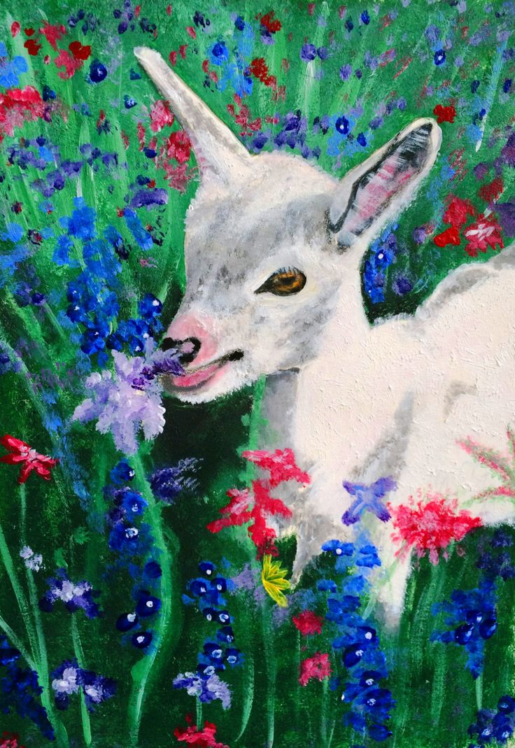 Art print from original painting, goat, baby goat, nature, flowers, British art, British, Abstract by ByGaddArtandDesign on Etsy