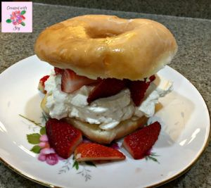 Glazed doughnut strawberry shortcakes. A new twist on a classic dessert.